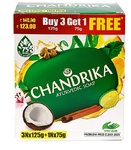 (Good Deal) Chandrika Ayurvedic Soap, 125g (Pack of 3+1 FREE) with Free 75g