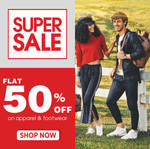 Flat 50% off on Apparel & Footwear + 100 extra instant discount on 300