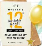Myntra 12th Birthday Bash Sale Offers- 20-21 Feb - Extra 10% off on ICICI Cards