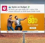 Snapdeal- get Extra 15% off using bank of baroda cards