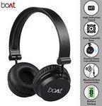 Boat Super Bass Rockerz 400 Bluetooth On-Ear Headphones with Mic (Black/Blue, Carbon Black)