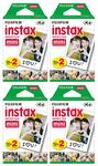 Fuji Mini Instant Film for Instax Cameras (4 Twin Packs, 80 Total Pictures) White