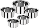 Renberg Steel without Lid Tope Set Of 5 (Stainless Steel) @399