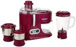 Maharaja Whiteline Ultimate 550 W 3 Jars Juicer Mixer Grinder (Red)