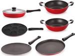 Nirlon Non-Stick Aluminium Cookware Utencils Set with 1 Lid, 6-Pieces, Red & Black