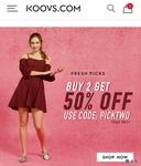 Koovs: buy 2 get 50% off use code PICKTWO